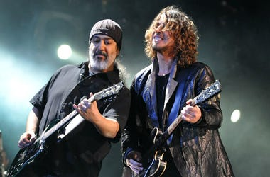 Kim Thayil and Chris Cornell of Soundgarden perform live on stage during in 2012