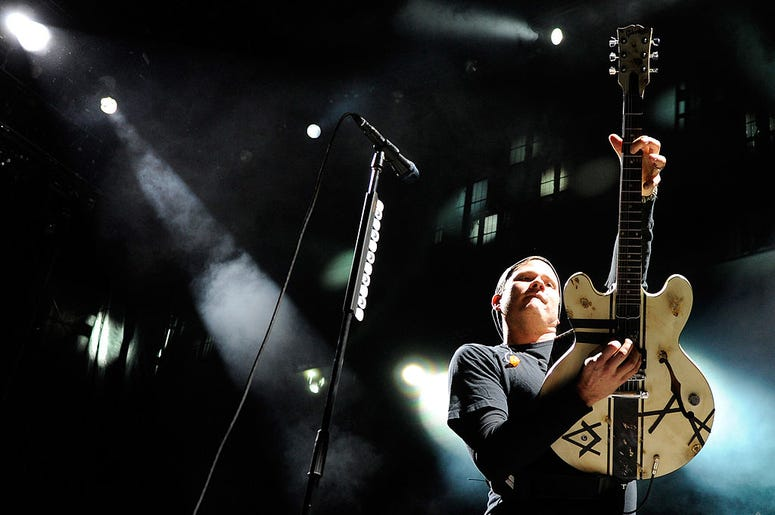 """Blink-182 singer/guitarist Tom DeLonge performs at the Red Rock Casino as the band tours in support of the new album, """"Neighborhoods"""" October 7, 2011 in Las Vegas, Nevada"""