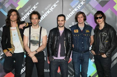 Musicians Nick Valensi, Albert Hammond Jr., Fabrizio Moretti, Nikolai Fraiture and Julian Casablancas of The Strokes arrive to the T-Mobile Sidekick 4-G Launch in Beverly Hills, California