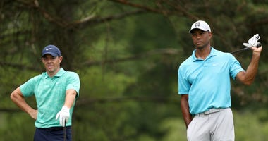 Rory McIlroy and Tiger Woods competing at last month's Memorial Tournament in Ohio