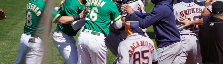 Laureano charges Astros dugout after getting drilled twice, chirped at by coach