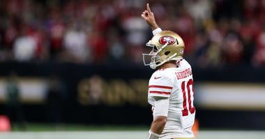 Jimmy Garoppolo celebrates the 49ers epic win in New Orleans