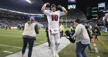 Jimmy Garoppolo celebrates 49ers' NFC West clinching win