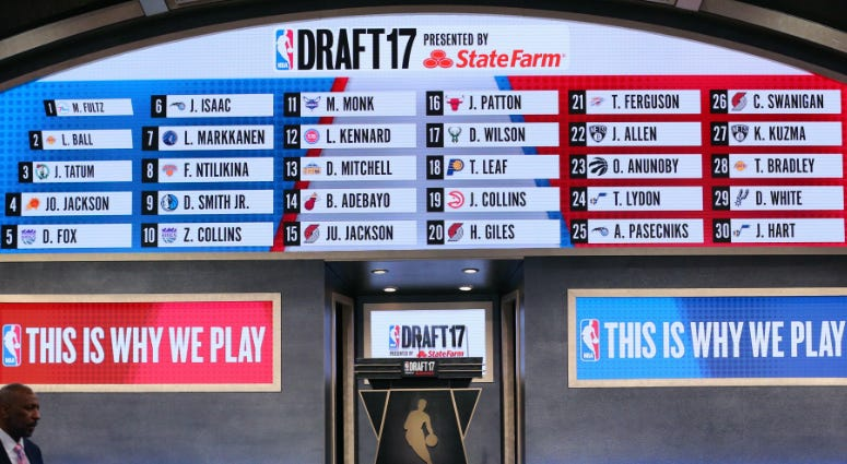 A general view of a video board displaying all thirty first round selections in the 2017 NBA Draft at Barclays Center.