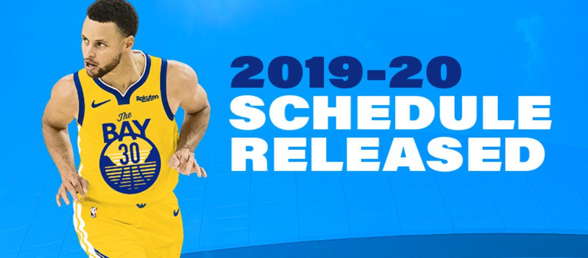 graphic regarding Golden State Warriors Printable Schedule titled Golden Region Warriors formally unveil 2019-2020 NBA