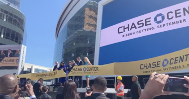 The ribbon is cut, Chase Center is open