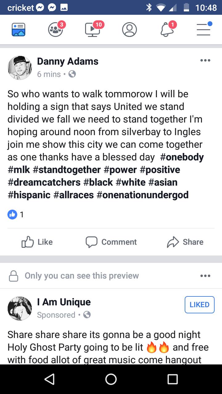 Danny's Facebook Post