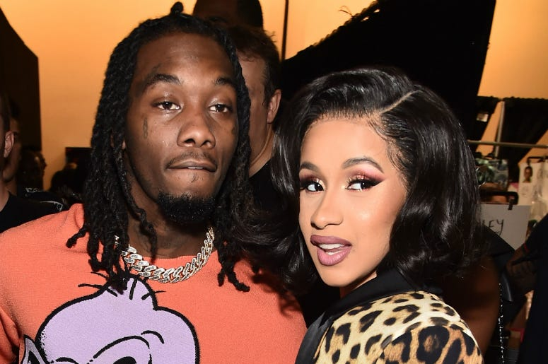Offset and Cardi B pose backstage at the Jeremy Scott show during New York Fashion Week: The Shows at Gallery I at Spring Studios on September 6, 2018 in New York City.