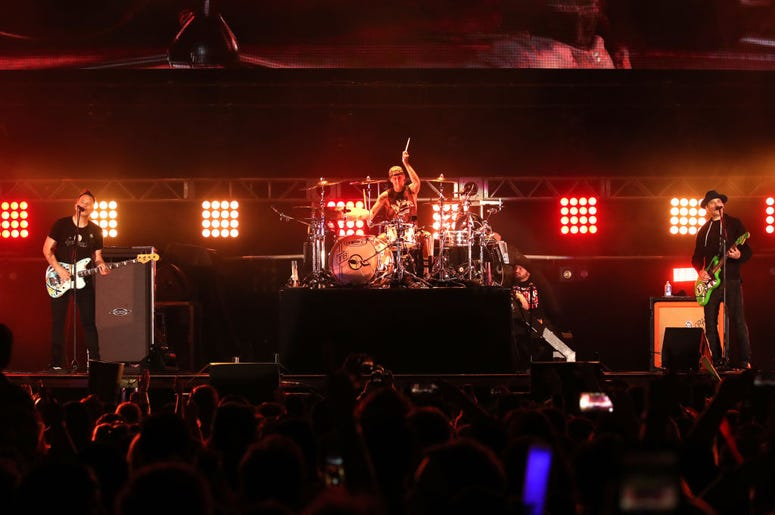 Mark Hoppus, Travis Barker, and Matt Skiba of blink-182 perform onstage at KROQ Weenie Roast 2018
