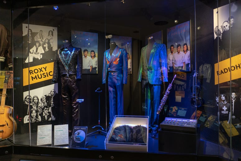 Roxy Music's stage outfits from Bryan Ferry, Phil Manzanera and Andy Mackay