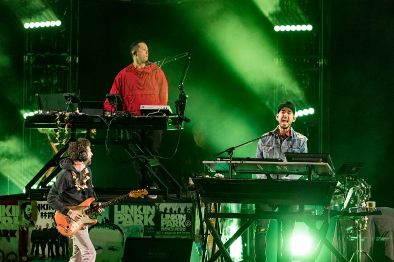 Brad Delsen, Mike Shinoda and Joe Hahn of Linkin Park