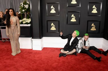 Demi Lovato (L) with Mike Posner and Blackbear attend The 59th GRAMMY Awards at STAPLES Center on February 12, 2017 in Los Angeles, California
