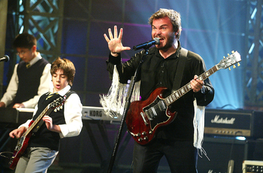'School of Rock' cast members Jack Black (R), Robert Tsai (L) and Joey Gaydos Jr. appear on 'The Tonight Show with Jay Leno'