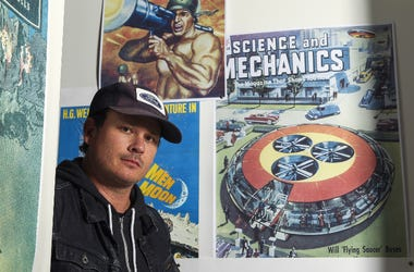 Tom DeLonge poses for a portrait in his shop To the Stars