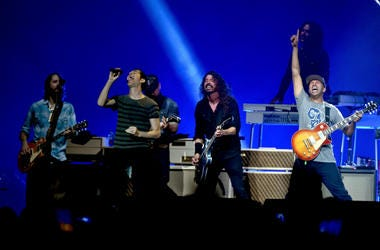 Foo Fighters with guests at Super Bowl concert