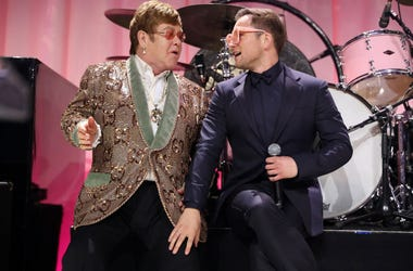 Sir Elton John and Taron Egerton perform onstage during the 27th annual Elton John AIDS Foundation Academy Awards Viewing Party sponsored by IMDb and Neuro Drinks celebrating EJAF and the 91st Academy Awards on February 24, 2019