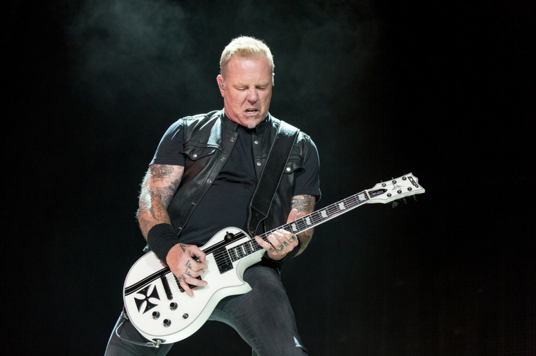 James Hetfield of Metallica performing live on stage at Genting Arena in Birmingham, UK