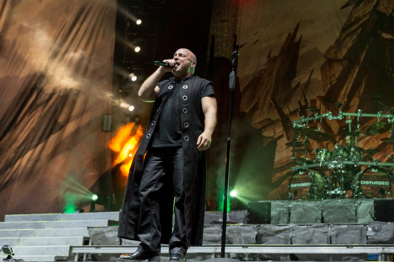 David Draiman and Mike Wengren of Disturbed at Toyota Park during Open Air Chicago on July 16, 2016