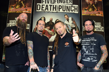Bassist Chris Kael, drummer Jeremy Spencer, and guitarists Zoltan Bathory and Jason Hook of Five Finger Death Punch