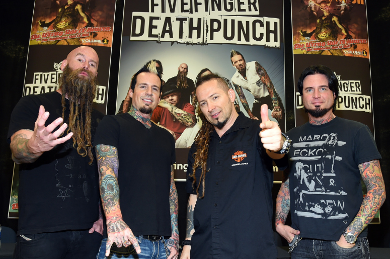 Bassist Chris Kael, drummer Jeremy Spencer, and guitarists Zoltan Bathory and Jason Hook of Five Finger Death Punch