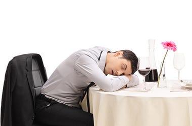 sleeping on table