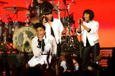 Janelle Monae performs during half time of the 2014 NBA All-Star Game at the Smoothie King Center.