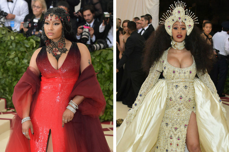 Nicki Minaj and Cardi B arriving at the Met Gala in New York City