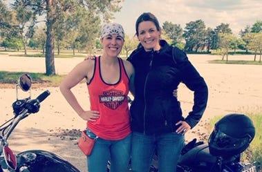 Elizabeth Kay with Harley Davidson