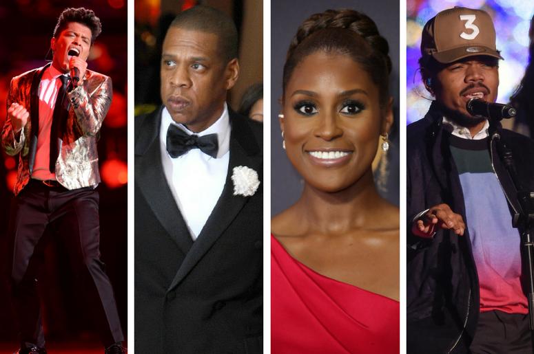 Bruno Mars, JAY-Z, Issa Rae, Chance the Rapper.