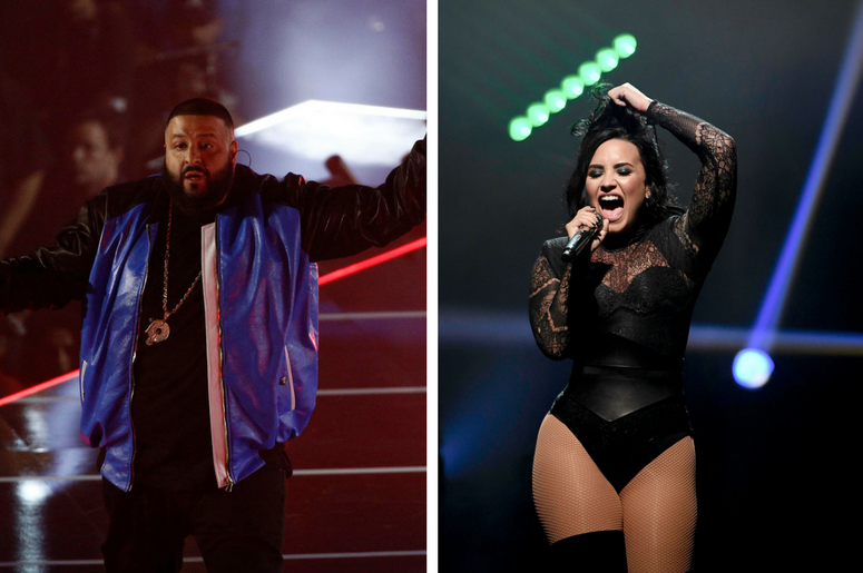 DJ Khaled performs during NBA All-Star Saturday Night at Smoothie King Center / Demi Lovato performs during the Future Now concert tour stop at the BB&T Center.