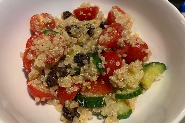 Quinoa Cucumber Power Salad with lemon vinaigrette