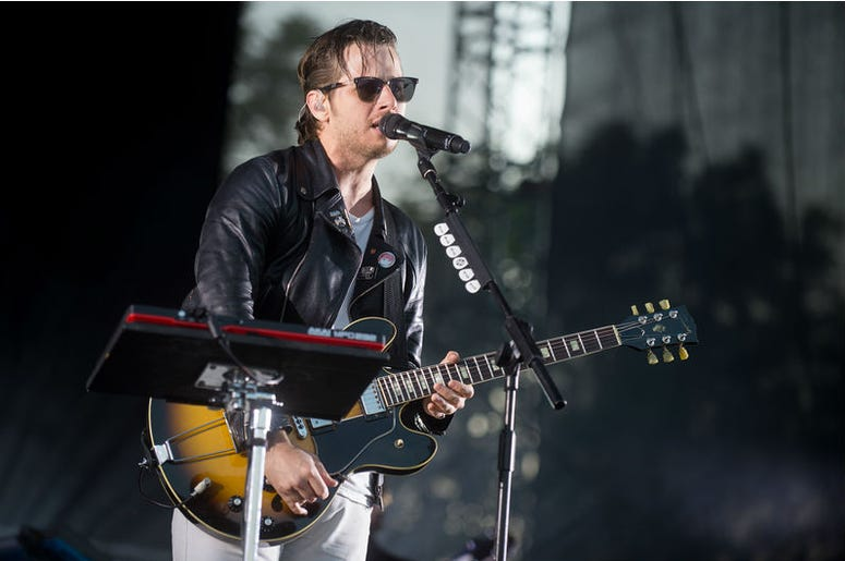 Singer Mark Foster of Foster The People during performance at festival Rock for People in Hradec Kralove, Czech republic