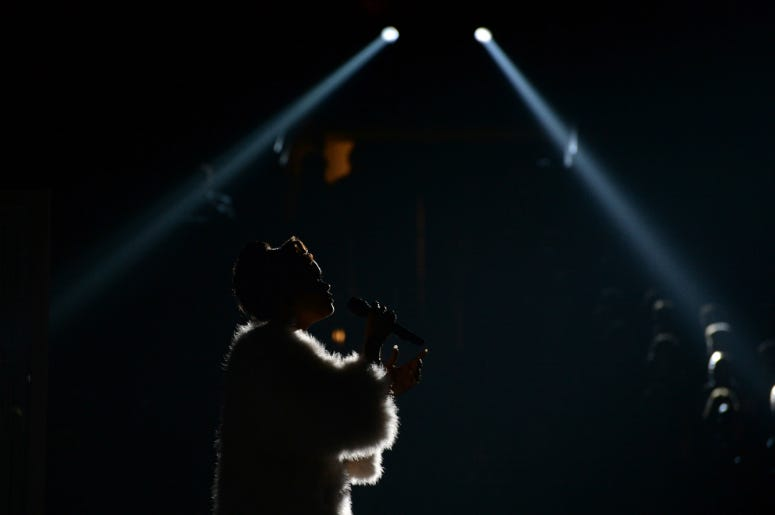 Andra Day performs during the 58th Grammy Awards at the Staples Center.