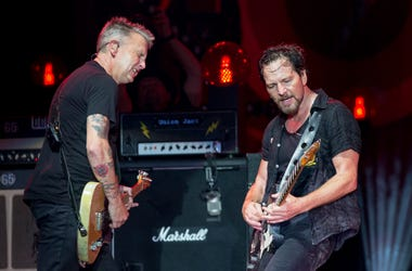 Mike McCready and Eddie Vedder of Pearl Jam at Great Stage Park during Bonnaroo Music and Arts Festival on June 11, 2016