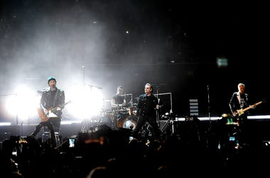 Bono, The Edge, Adam Clayton and Larry Mullen Jr. of U2 perform at The Forum on May 16, 2018 in Inglewood, California.