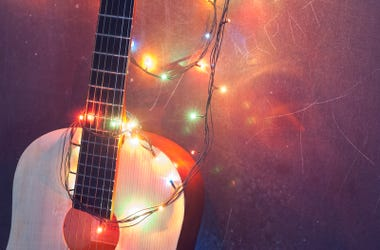 guitar + Christmas lights