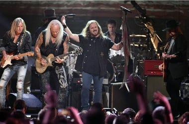 Members of Lynyrd Skynyrd perform during the Merle Haggard Tribute concert at Bridgestone Arena.