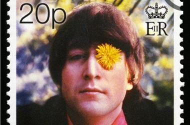 GIBRALTAR - CIRCA 1999: Postage stamp from Gibraltar portraying an image of John Lennon, circa 1999.