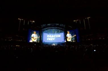 Deacon Frey performs with the Eagles at the Classic West festival at Dodger Stadium in Los Angeles