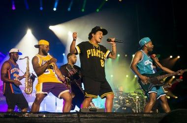 Caption: NAPA, CA - MAY 27: Bruno Mars performs during the 2018 BottleRock Napa Valley at Napa Valley Expo on May 27, 2018 in Napa, California.