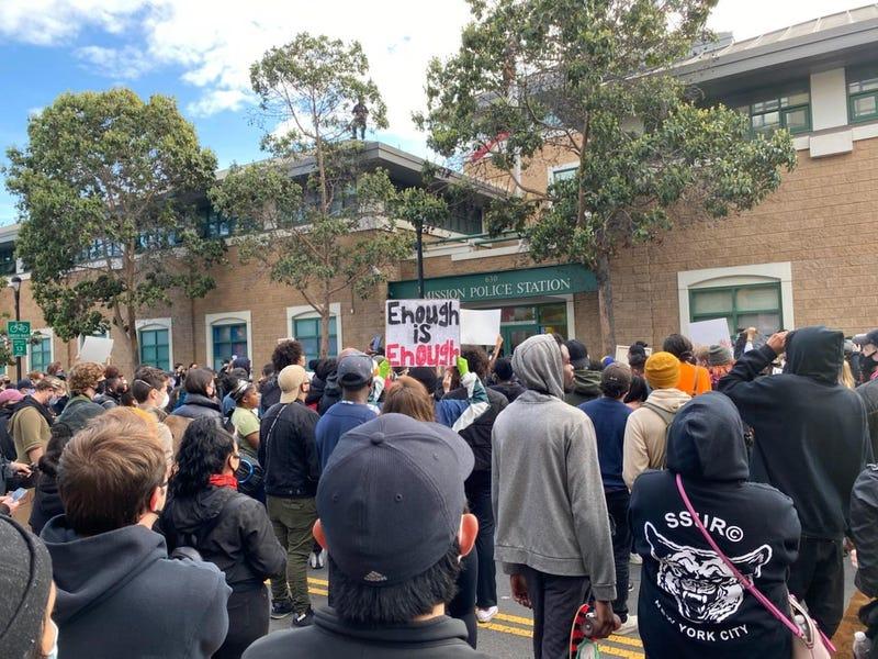 Demonstration in San Francisco's Mission neighborhood.
