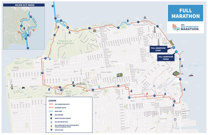Masks will be required on the blue-highlighted portions of the San Francisco Marathon on Sunday.