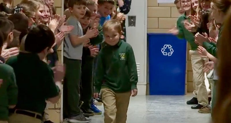 Great News: Meet the boy who beat leukemia and was given a standing ovation at school