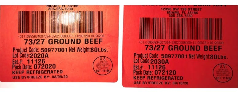 Balter Meat Company Ground Beef Recall Label