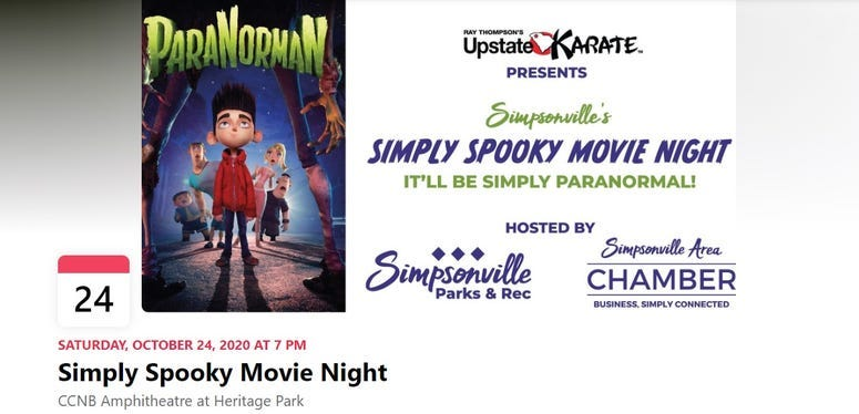Simply Spooky Movie Night, Saturday October 24th, 7pm