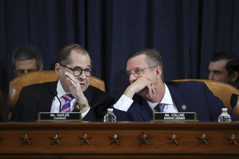 House Judiciary Committee Chairman Rep. Jerrold Nadler, D-N.Y., left, talks with ranking member Rep. Doug Collins, R-Ga.