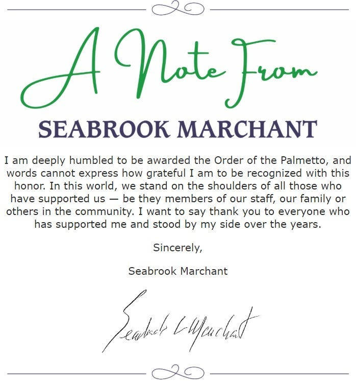 Seabrook Marchant awarded The Order of the Palmetto