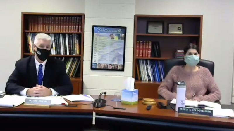 Williamsville Acting Superintendent John McKenna (left) and School Board President Teresa Leatherbarrow (right) answer questions about reopening. October 17, 2020
