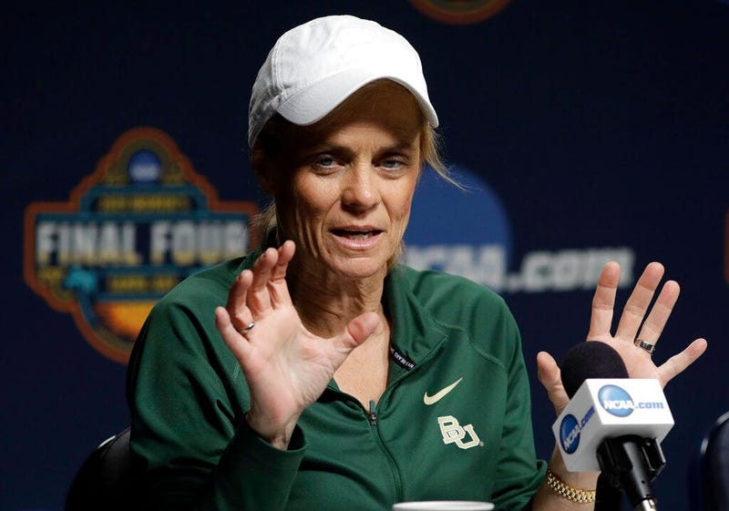 Baylor head coach Kim Mulkey gestures during a news conference at the women's Final Four NCAA college basketball tournament Saturday, April 6, 2019, in Tampa, Fla. Baylor will play Notre Dame for the national championship on Sunday.