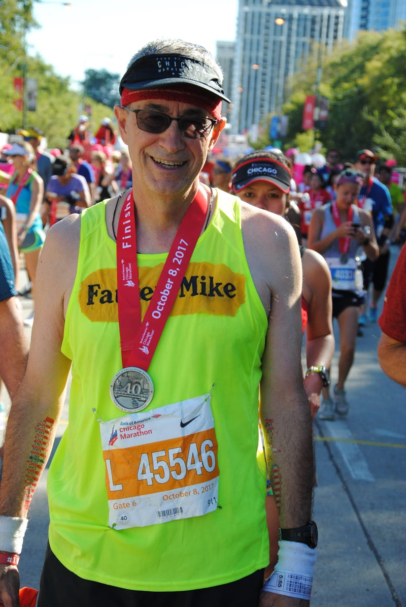 The Chicago Marathon is not happening this weekend as it normally would, but that's not stopping a Catholic priest from putting in 26.2 miles for charity.